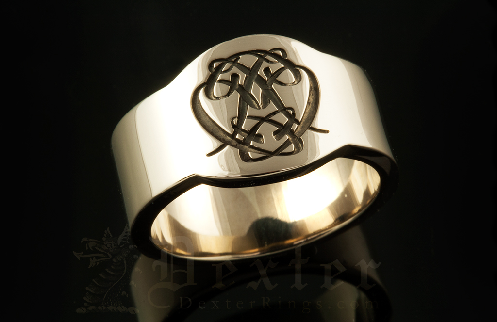 Cigar Band Ring With a Bespoke Cipher Monogram