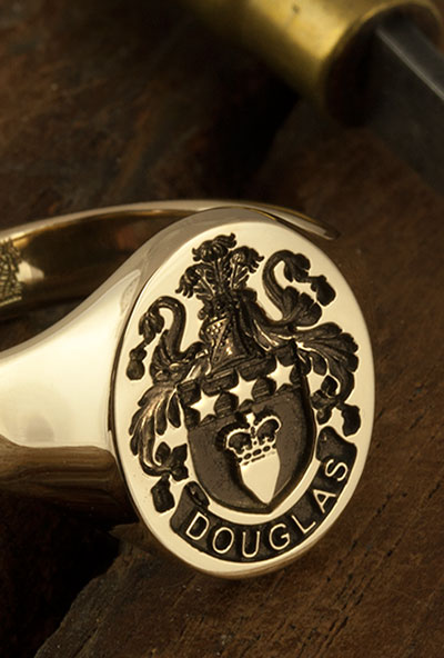 Douglas Coat of Arms Engraved Signet Ring