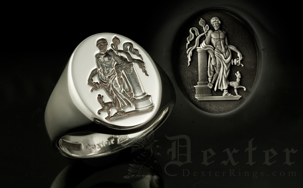 Custom Silver Signet Ring Engraving from Greek or Roman Classical Period Sculpture