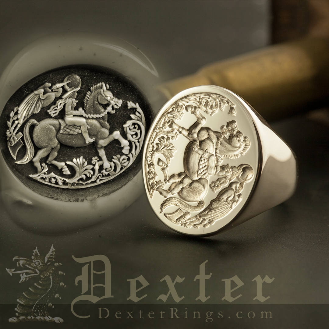 Lady On Horse Pelican Mythical Signet Ring