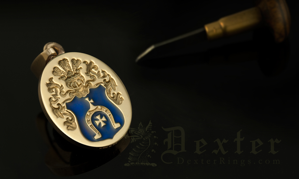 Custom Bespoke Coat of arms gold pendant with blue enamel
