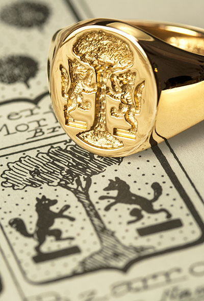 Charges from Italian Heraldic Shield two wolves supporting tree signet ring