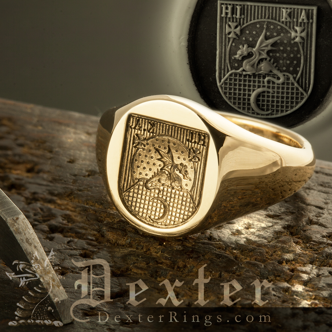 Heraldic Shield Signet Ring With Dragon