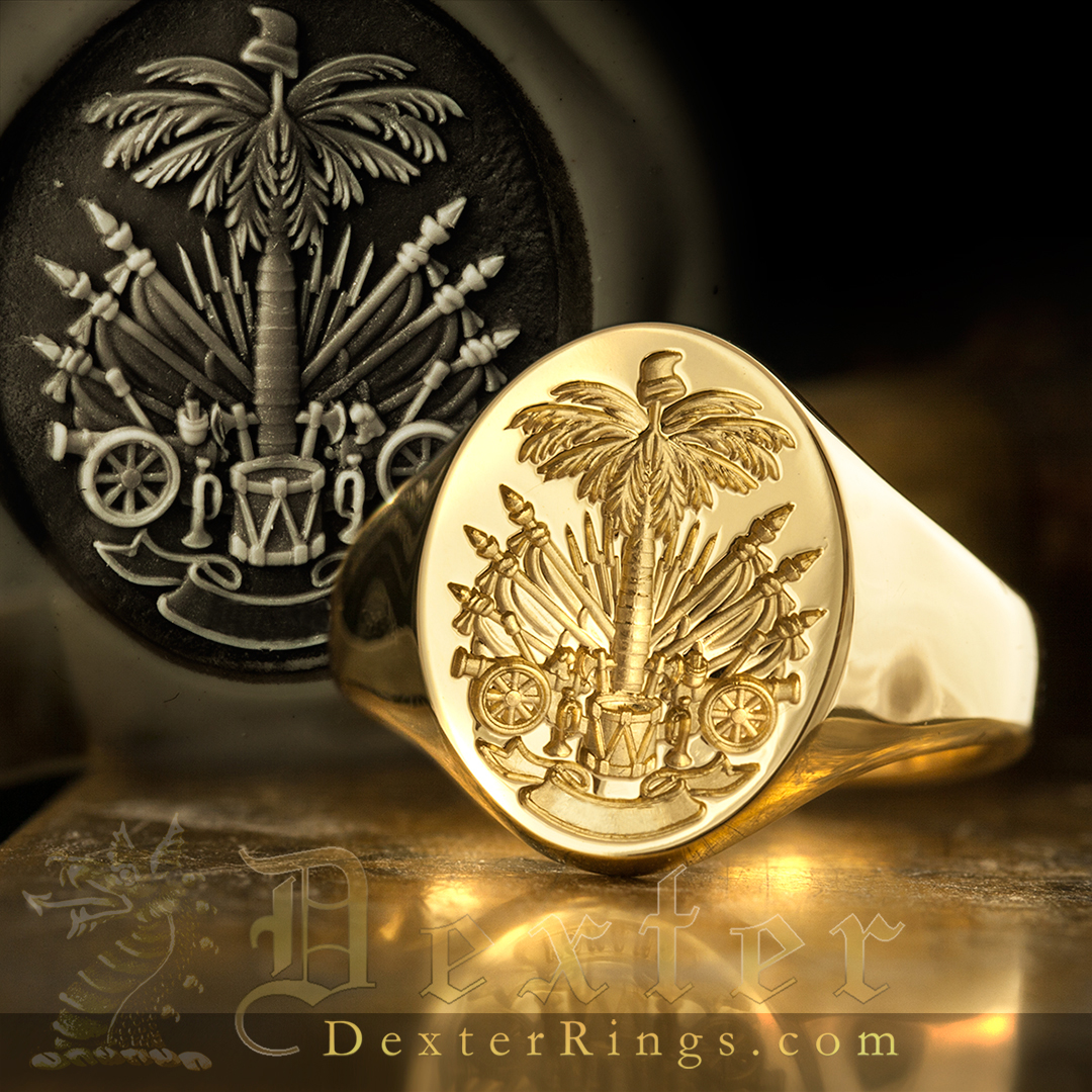 Signet Ring Engraved with Coat of Arms of Haiti