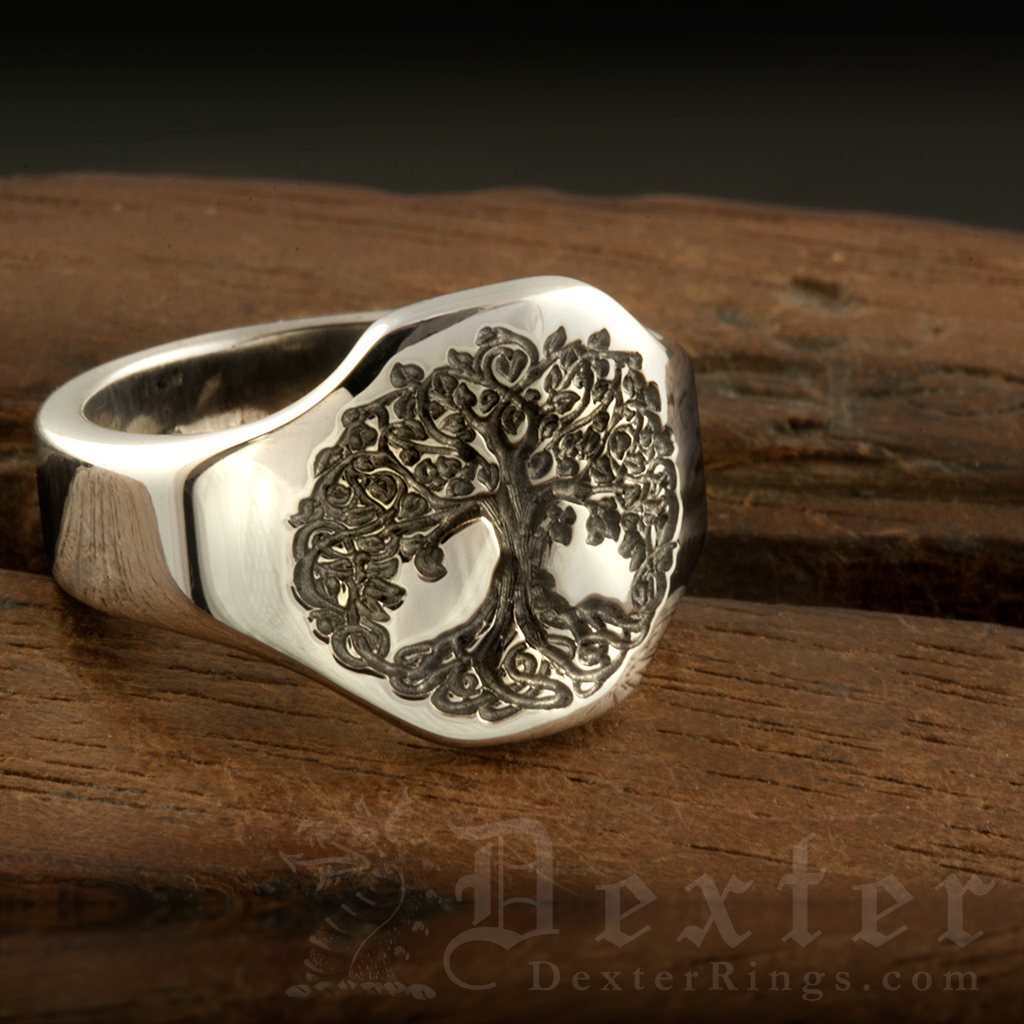 Tree of Life Cigar Band Style Ring