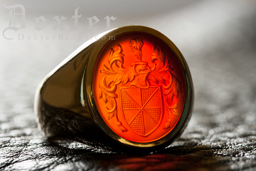 Carnelian Gemstone Ring Custom engraved with coat of arms