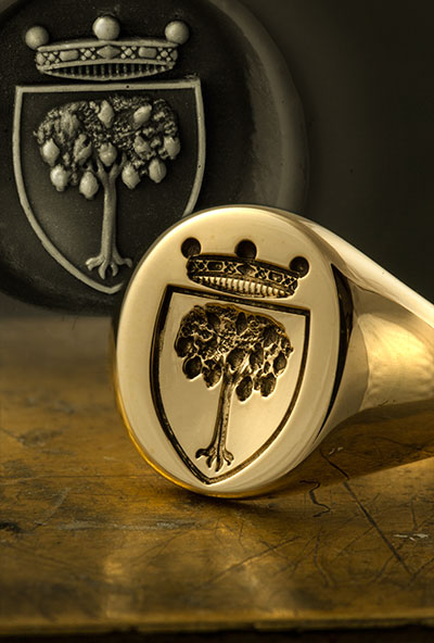 siget ring seal engraved with italian shield lemon tree and coronet