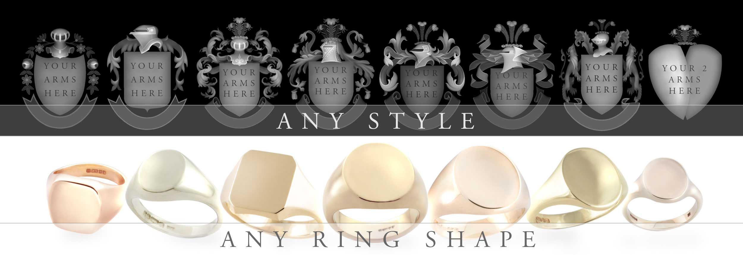 any arms style any signet ring shape