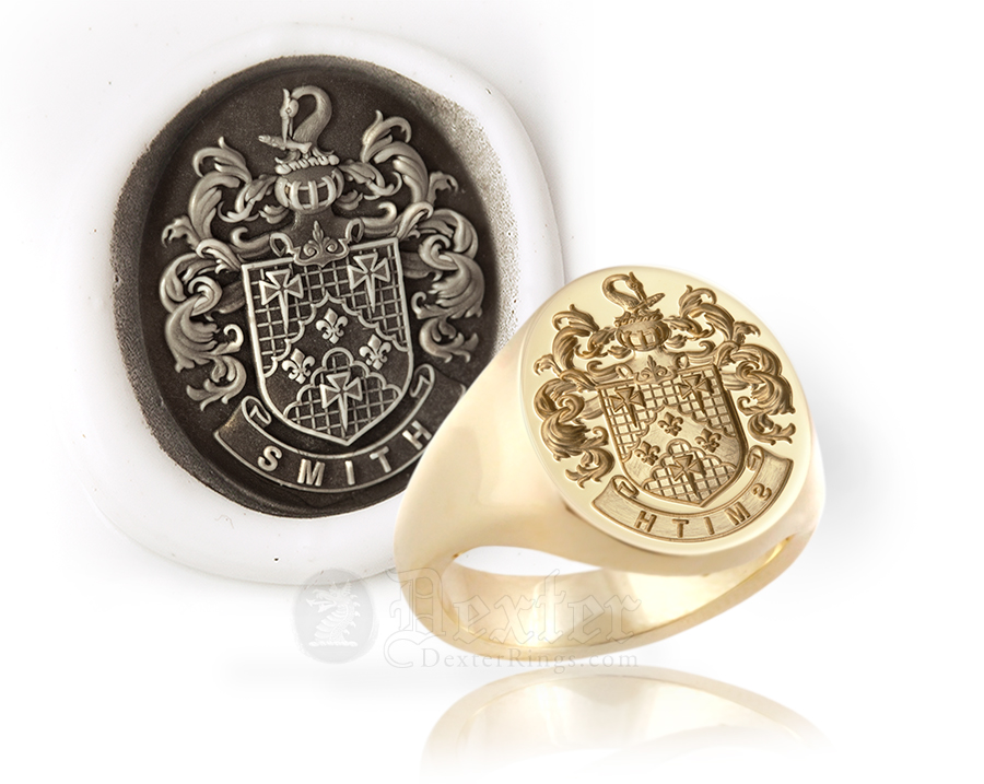 Louis XIV Style Arms Signet Ring - Smith