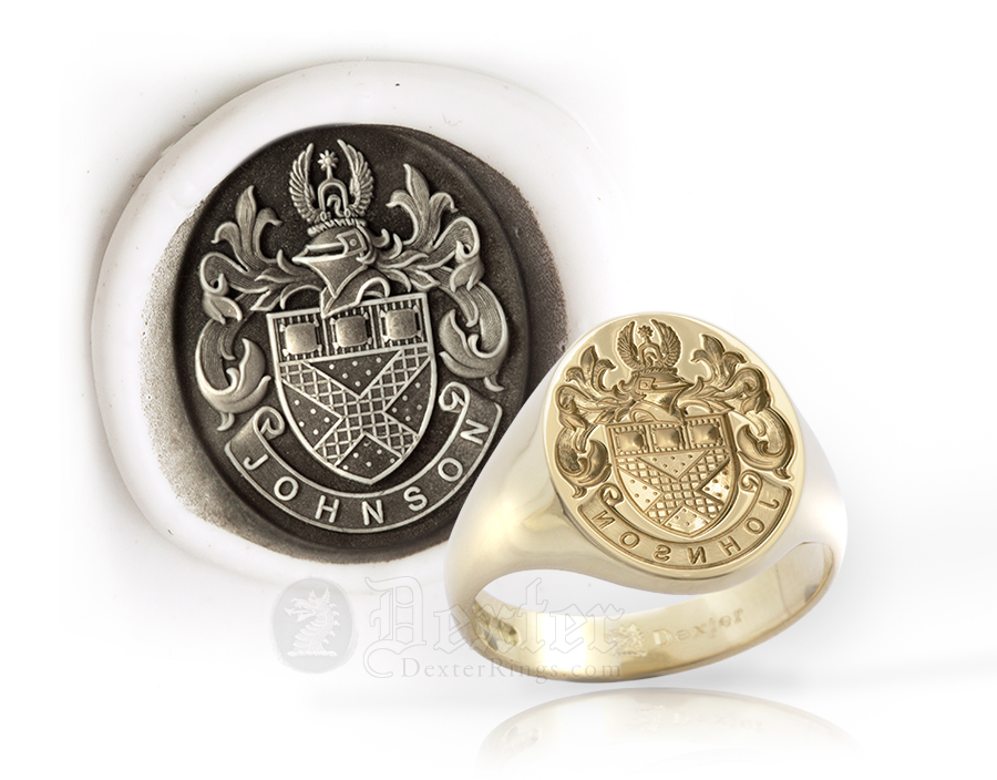 Johnson Tudor Style Arms Signet Ring