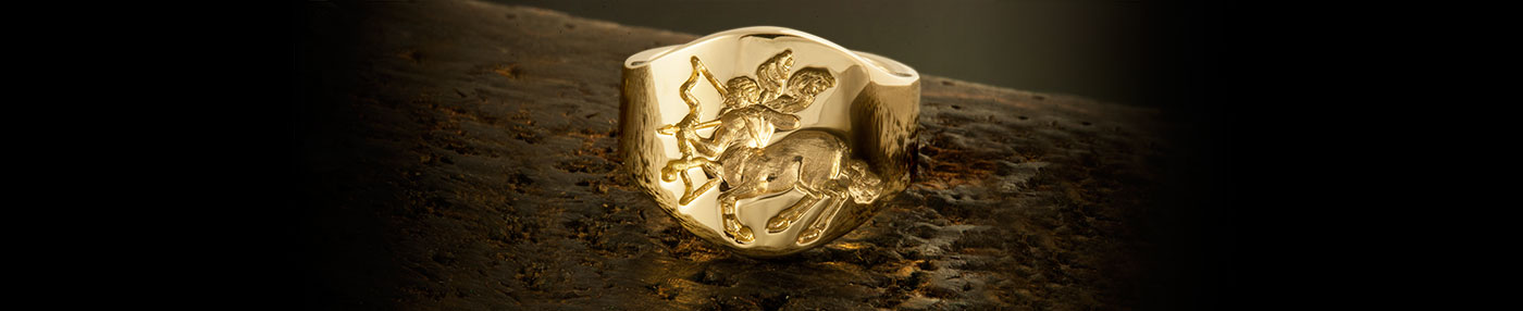 Cigar Band Style Ring Depicting an Engraving of Sagittarius