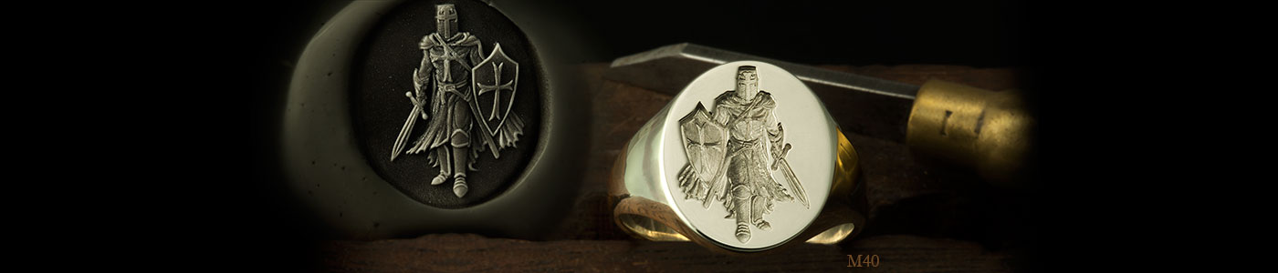 Knights Templar signet rings - Knight with sword