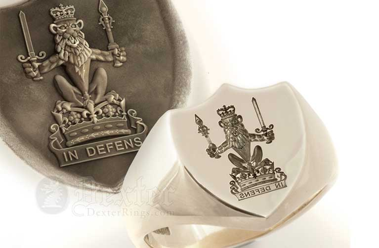 Royal lion crest engraved signet ring