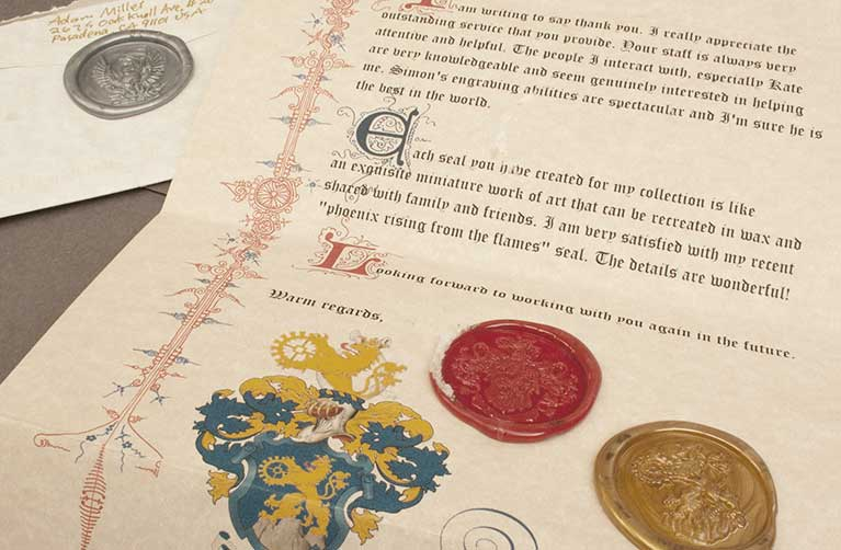Document showing calligraphy & wax seal