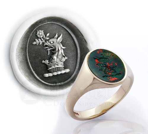 Griffin Head Bloodstone Crest Ring