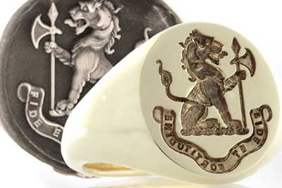 Lion Holding Axe Crest Ring