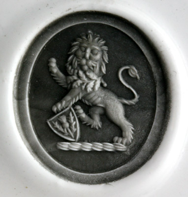 Bloodstone Engraved with a Lion Rampant Guardant Holding a Shield
