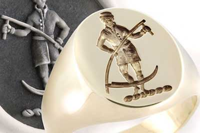 Traditional Man with Sythe Crest Ring