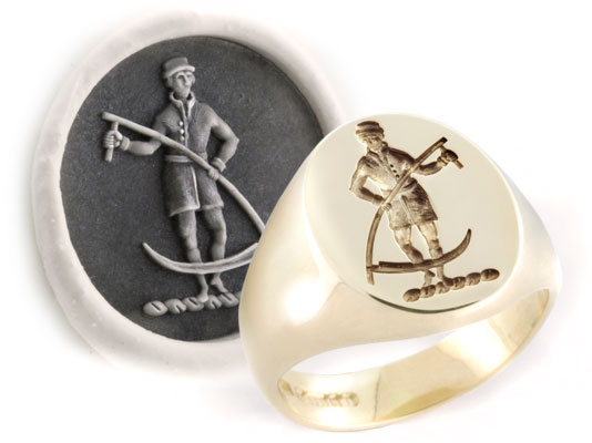 Man with Sythe Traditional Crest Engraved on a Signet Ring