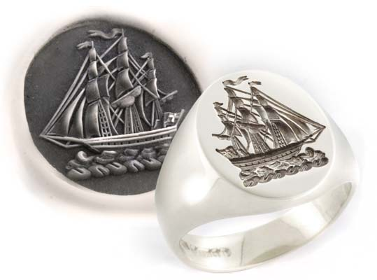 Signet Ring Engraved with a Traditional Crest of a Sailing Ship