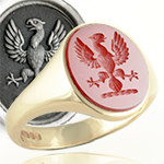 cornelian signet ring engraved with an eagle displayed