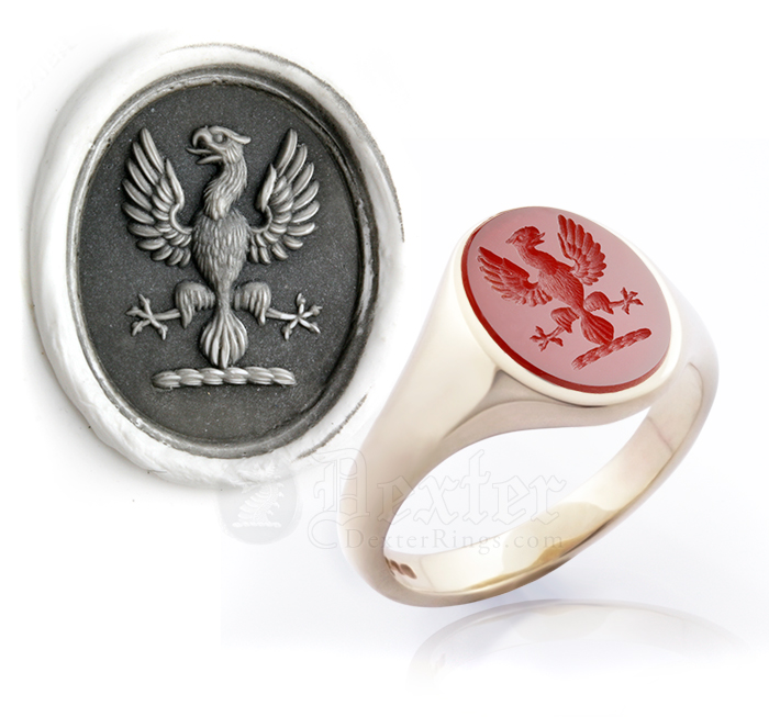 Cornelian Signet Ring Eagle Displayed Crest