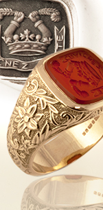 Signet ring with a decorative shank