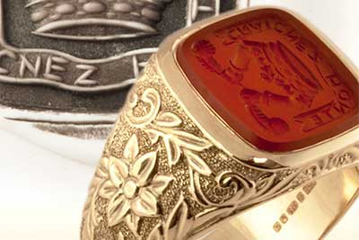 Carnelian signet ring with a decorative shank