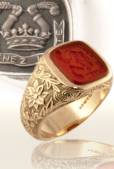 Carnelian Signet Ring with a Custom Bespoke Decorative Shank