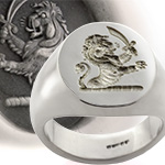 Demi Lion Holding a Sword Crest Ring