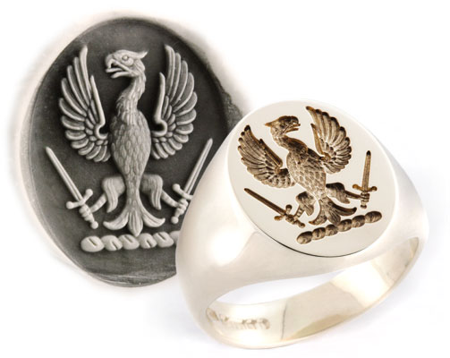 Eagle Displayed Holding Swords Crest Ring