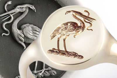 Traditional Crest of Heron Holding Snake Seal Engraved onto a Signet Ring