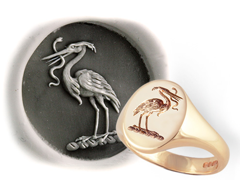Heron Preying on a Snake Crest Ring