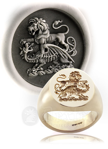 lion preying on a dragon crest ring