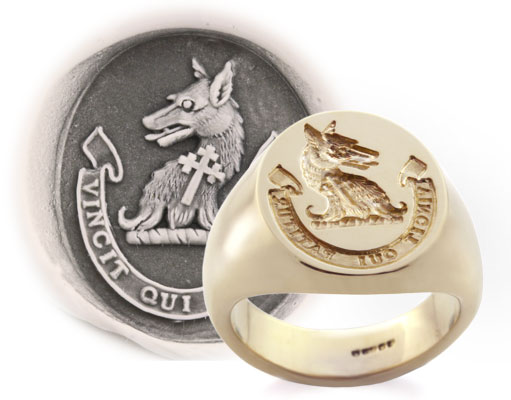 Wolf Head & Cross Crest Ring