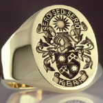 Elveated Coat of Arms on Gold Ring