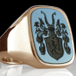 european coat of arms on gemstone