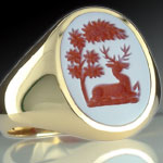 White Over Red Sardonyx Stone Ring Engraved with a Traditional Design depicting a doe deer under a tree