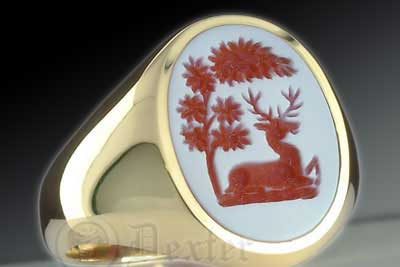 Red Sardonyx Stone Ring With Stag