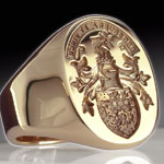 Scottish Coat of Arms Engraved on a Gold Ring