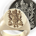 Signet Ring Seal Engraved with a Full Heraldic Coat of Arms