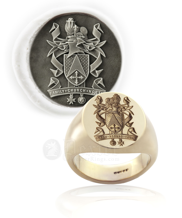 Custom Heraldic Coat of Arms With Walrus Crest Gold Seal Ring