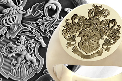Highly ornate Custom Bespoke coat of arms and crest seal ring