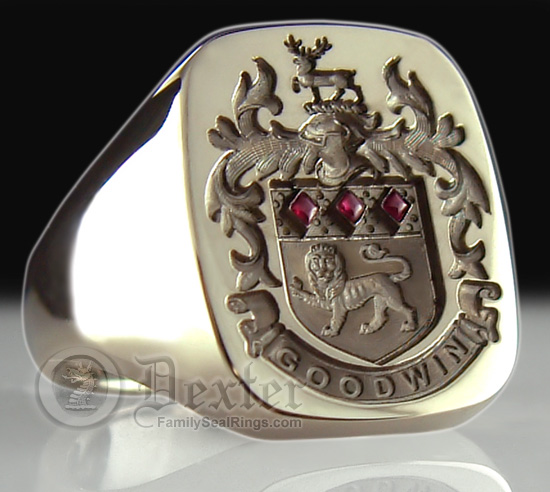 coat of arms seal engraved onto gold silver and gemstone examples