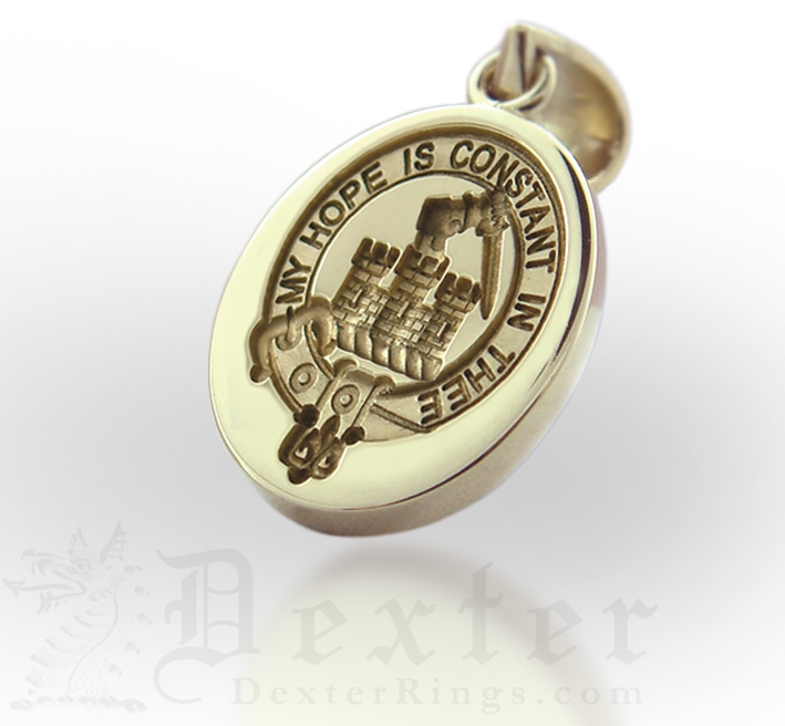 Scottish Clan Badge Engraved Gold Pendant