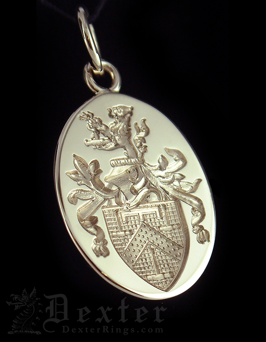 Family Coat of Arms Engraved Gold Pendant
