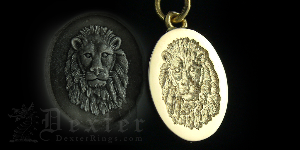 Male Lion Face Engraved Gold Pendant