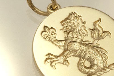 Gold Pendant Engraved with a Sea Lion Crest