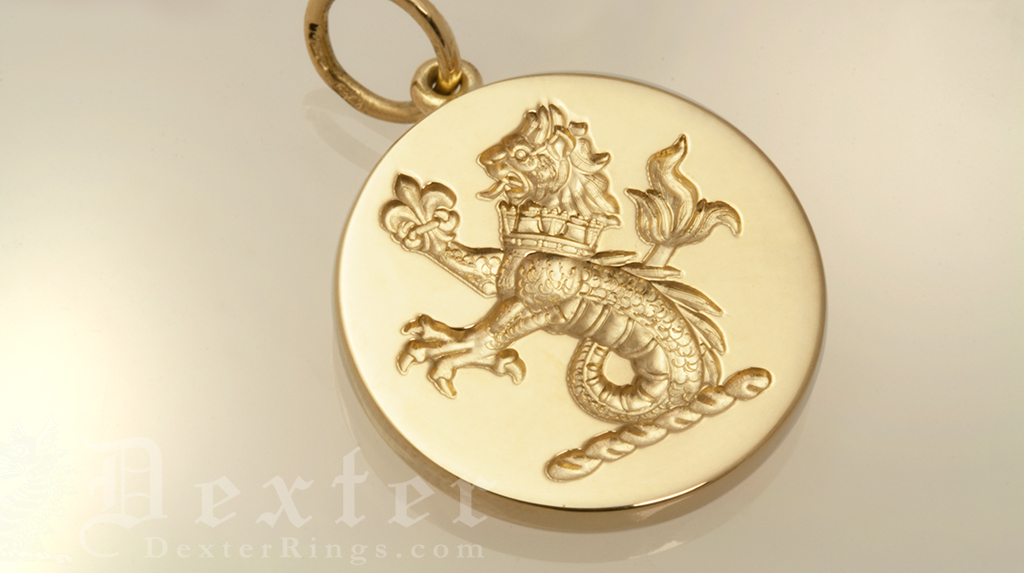 Gold Pendant Engraved with a Sea Lion Heraldic Crest