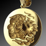 tiger and heart engraved pendant